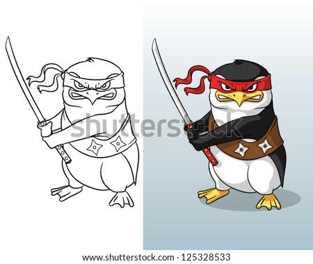 Vector illustration of  Angry Ninja Penguin holding  kat-ana  sword. - stock vector