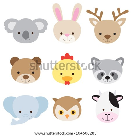 Vector illustration of animal face set. - stock vector