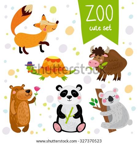 Vector illustration of animal: fox, turtle, yak, bear, panda, koala - stock vector