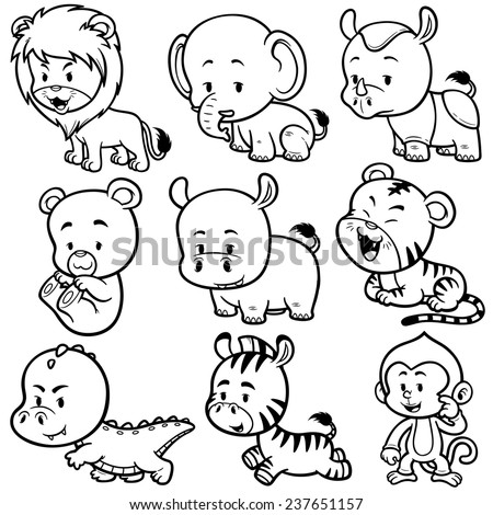 Vector illustration of  Animals cartoon - Coloring book - stock vector