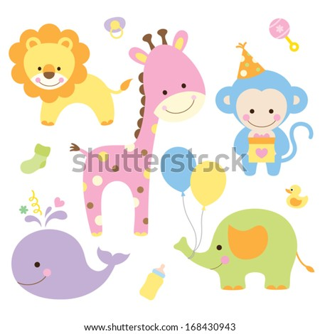 Vector illustration of animals in party theme. - stock vector