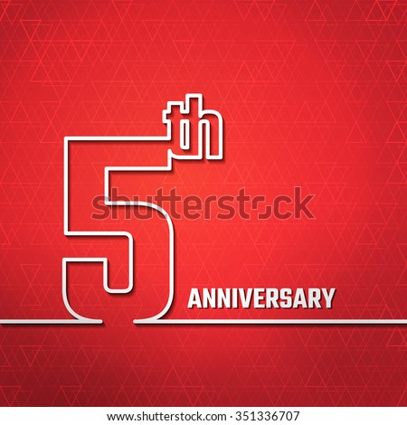 Vector Illustration of Anniversary 5th Outline for Design, Website, Background, Banner. Jubilee silhouette Element Template for greeting card - stock vector