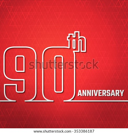 Vector Illustration of Anniversary 90th Outline for Design, Website, Background, Banner. Jubilee silhouette Element Template for greeting card - stock vector