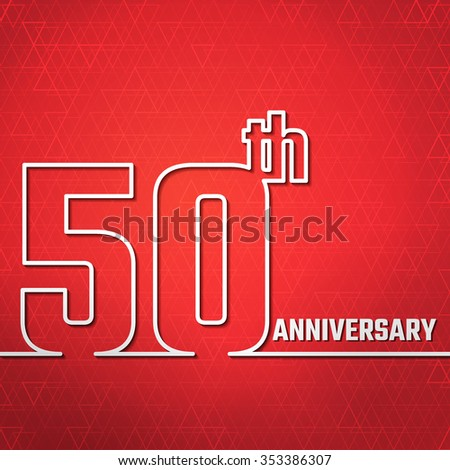 Vector Illustration of Anniversary 50th Outline for Design, Website, Background, Banner. Jubilee silhouette Element Template for greeting card - stock vector