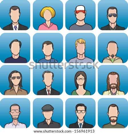 Vector illustration of anonymous faces in big set. Easy-edit layered vector EPS10 file scalable to any size without quality loss. High resolution raster JPG file is included. - stock vector