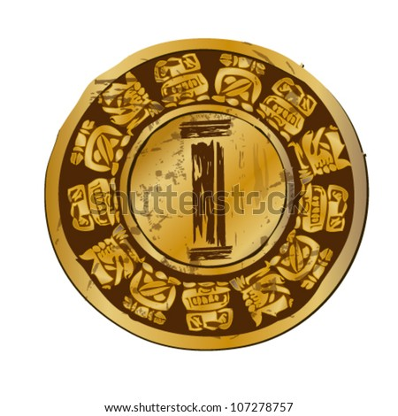 vector illustration of antique coin - stock vector