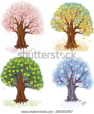 Vector illustration of apple tree during four seasons - stock vector