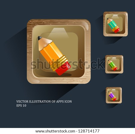 Vector illustration of apps shelf icon with pencils - stock vector