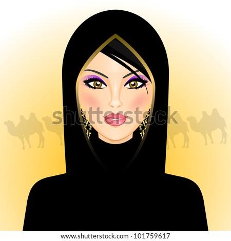Vector illustration of arab woman in the desert - stock vector