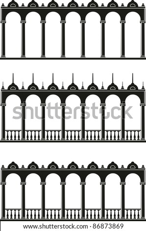 Vector illustration of architectural element - Silhouettes of gallery: black, isolated, white background - stock vector