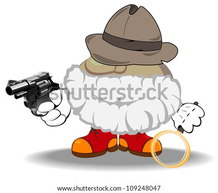 vector illustration of armed detective investigating a crime - stock vector