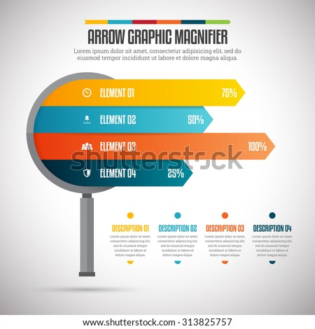 Vector illustration of arrow graphic magnifier infographic design element. - stock vector