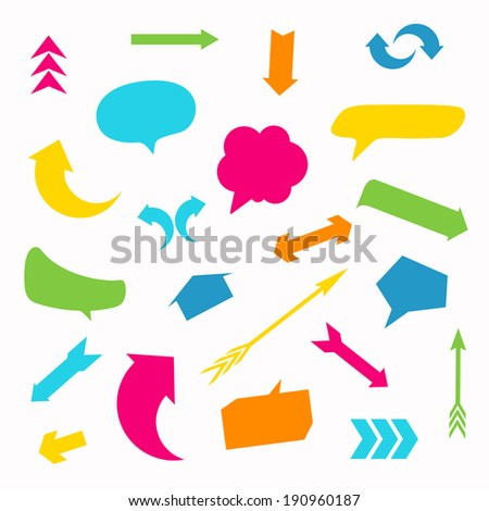 Vector Illustration of Arrows and Speech Balloons - stock vector