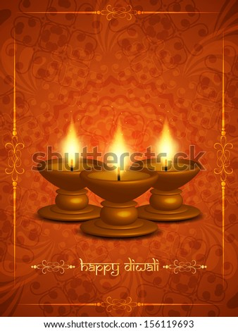 vector illustration of artistic elegant background design for diwali festival with beautiful lamps. - stock vector