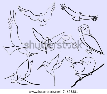 vector illustration of assorted abstract birds - stock vector