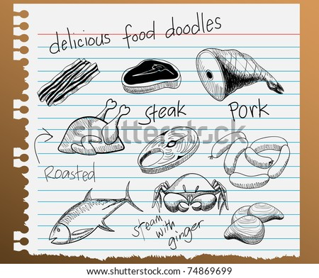 vector illustration of assorted food doodles - stock vector