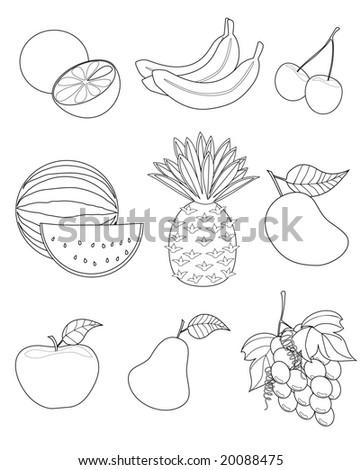 vector illustration of assorted fruits outline drawing - stock vector