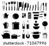 Vector illustration of assorted kitchen utensil silhouettes - stock vector