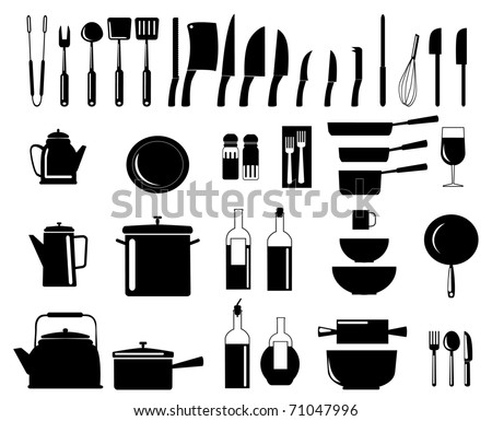Vector illustration of assorted kitchen utensil silhouettes - stock vector