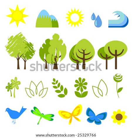 vector illustration of assorted nature icons - stock vector