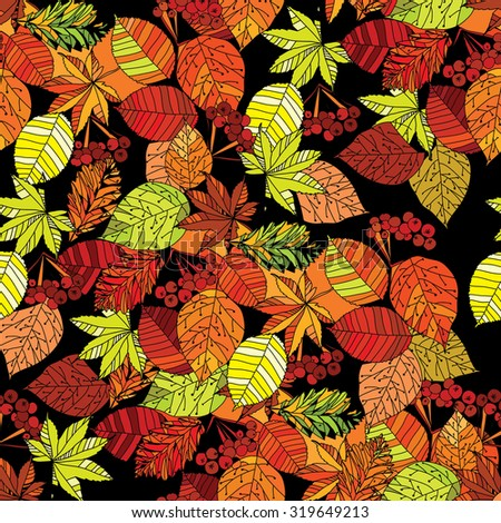Vector illustration of autumn leaves seamless pattern on black background. Template for textile, wallpaper and web - stock vector
