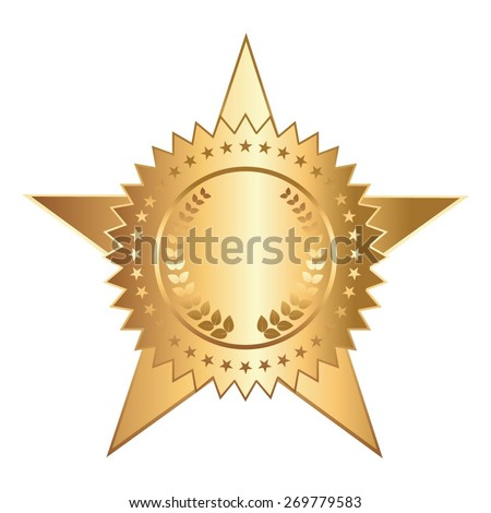 Vector illustration of Award on a white background. Gold star. - stock vector