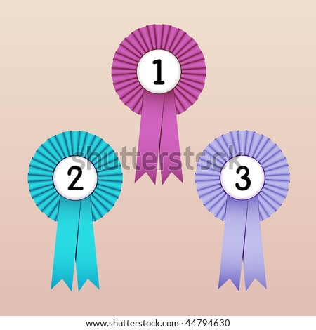 Vector Illustration of Award Ribbons (1st, 2nd and 3rd place) - stock vector
