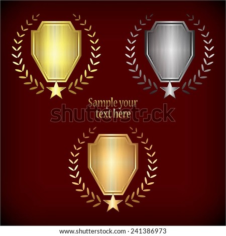 Vector illustration of 3 awards on a red background. - stock vector