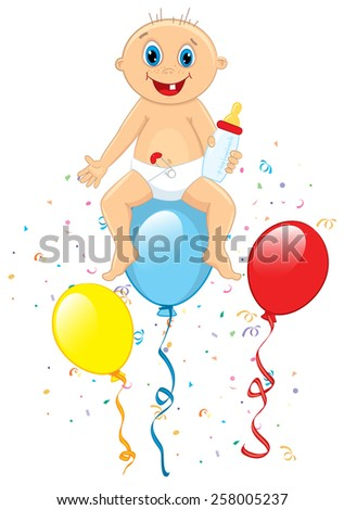Vector illustration of baby boy sitting on balloon - stock vector
