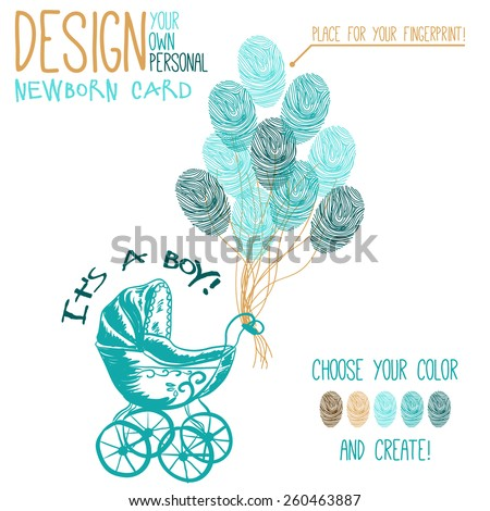 Vector illustration of  baby carriage for newborn boy. Variant of design of your newborn card - stock vector