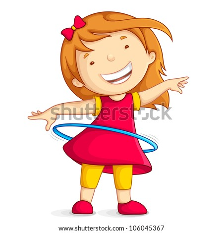 vector illustration of baby girl playing with hula hoop - stock vector