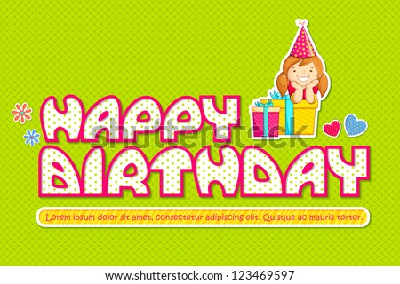 vector illustration of baby girl with birthday gift - stock vector
