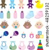 Vector Illustration of 25 baby isolated icons. - stock vector