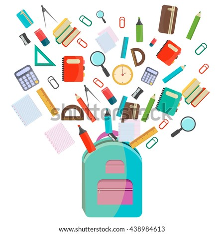 Vector illustration of Back to School supplies. School supplies learning equipment and different school supplies colorful office accessories. Back to school school supplies in school bag big set. - stock vector