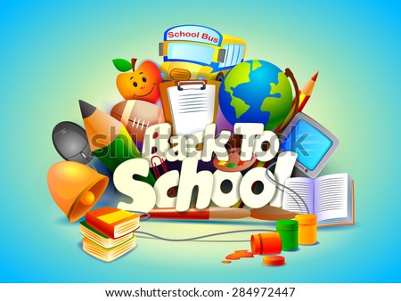 vector illustration of Back to School wallpaper background - stock vector