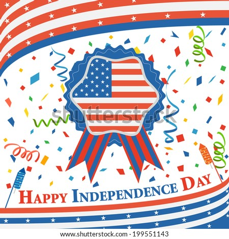 vector illustration of background of Fourth of July American Independence Day - stock vector