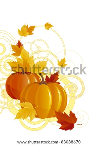 Vector illustration of background with pumpkins - stock vector