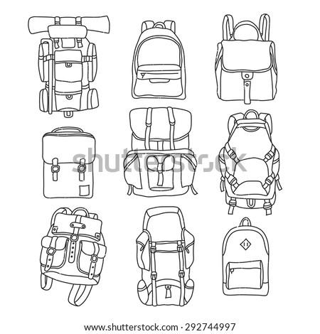 Vector illustration of backpack vintage labels outline. - stock vector