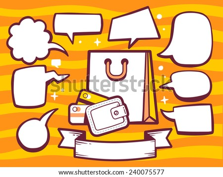Vector illustration of bag and money purse with speech comics bubbles on orange pattern background. Line art design for web, site, advertising, banner, poster, board and print. - stock vector