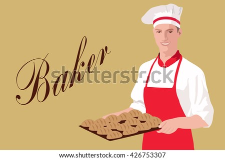 Vector illustration of baker, holding a basket with Bakery products on background. Baker illustration, Baker image, Baker isolated, Baker concept, Baker poster, Baker profession. - stock vector