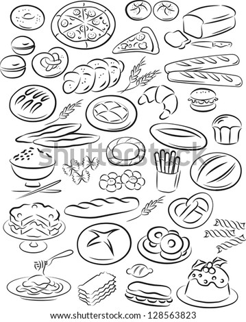 vector illustration of bakery collection in black and white - stock vector