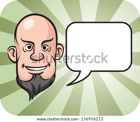 Vector illustration of bald and bearded man face with speech bubble - stock vector