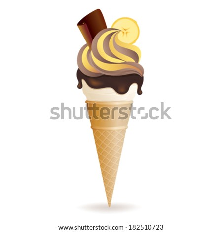 Vector illustration of banana and chocolate ice cream cone, isolated on white background - stock vector