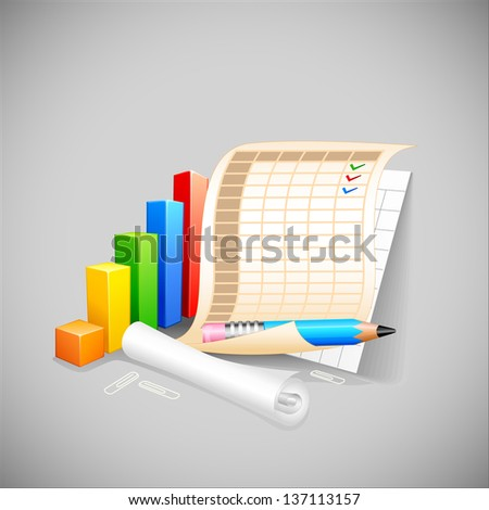 vector illustration of bar graph with business document - stock vector