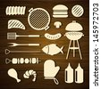 Vector Illustration of Barbecue Grill Icons - stock vector