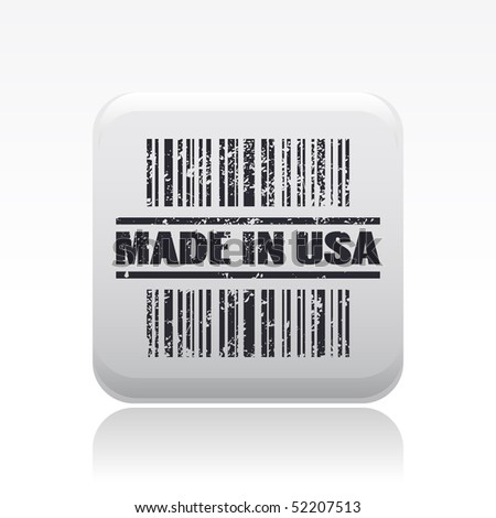 "Vector illustration of barcode icon marked ""Made in Usa"" - stock vector"