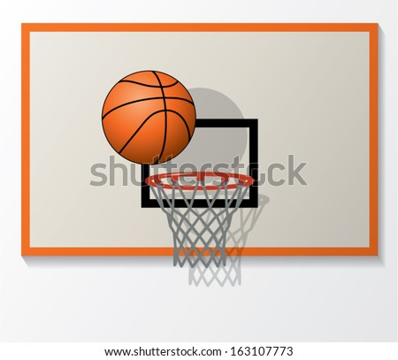 vector illustration of basketball net and backboard set, ball dunk in the hoop  - stock vector