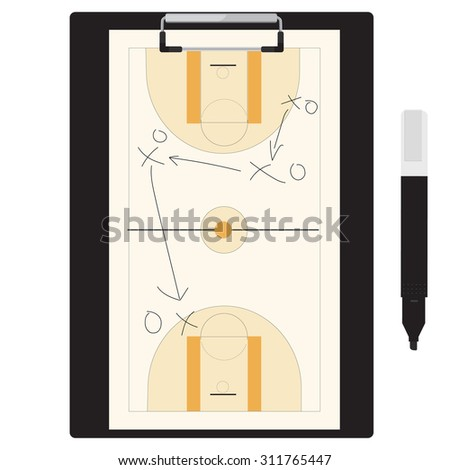 Vector illustration of basketball tactic plan on clipboard with marker pen. Basketball tactic board. Writing a basketball game strategy on a blackboard.  - stock vector