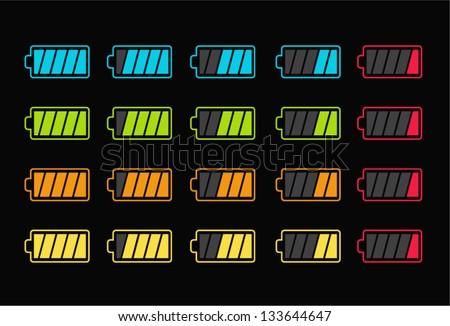Vector illustration of battery level Indicator - stock vector