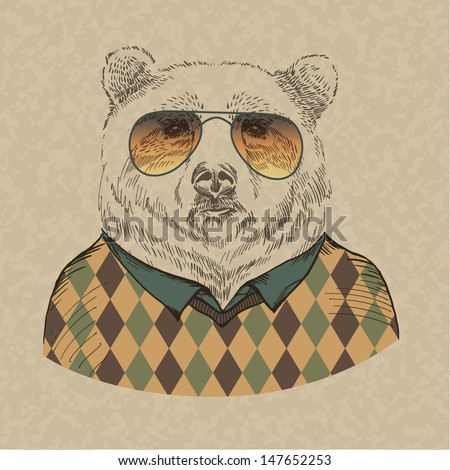vector illustration of bear portrait in sunglasses and pullover, retro style, hipster look - stock vector